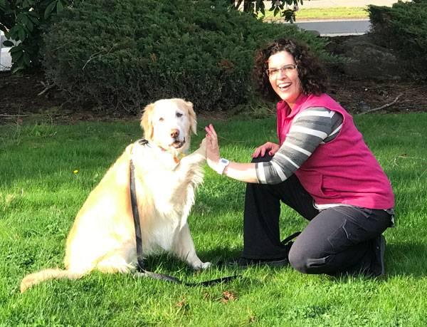 Karen and her Golden Retriever, Sunny!